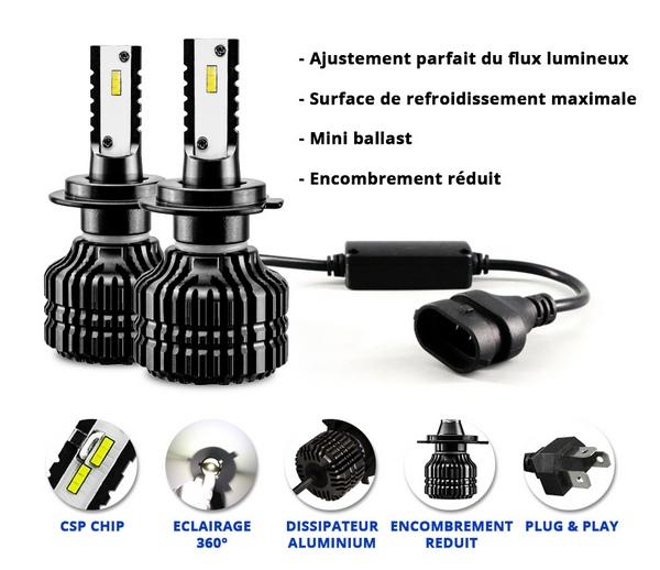 kit q5 full leds csp 360 vega anti erreur odb 2 ampoules h7 12v 24v. Black Bedroom Furniture Sets. Home Design Ideas
