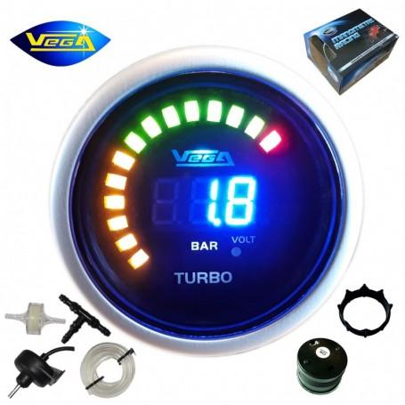Manomètre Vega® pression turbo -1 à 2 bars numérique et leds 52 mm