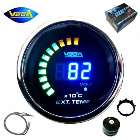 Manomètre Vega® température gaz d'échappement 0 à 1300 °C affichage numérique et leds 52 mm
