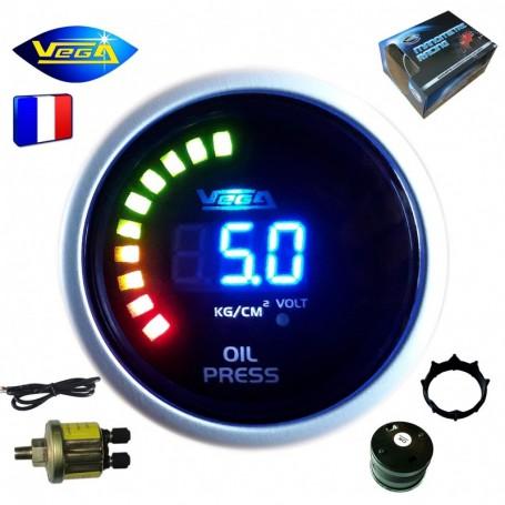 Manomètre Vega® pression d'huile 0-10 bars affichage numérique et leds 52 mm