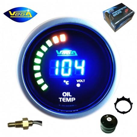 Manomètre Vega® température d'huile 20-150 °C affichage numérique et leds 52 mm
