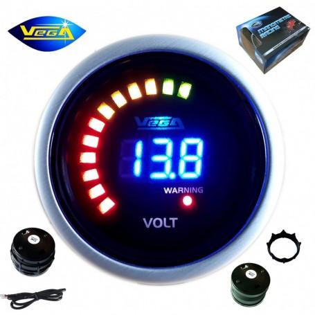 Manomètre Vega® Voltmètre 8 à 18V affichage numérique et leds 52 mm