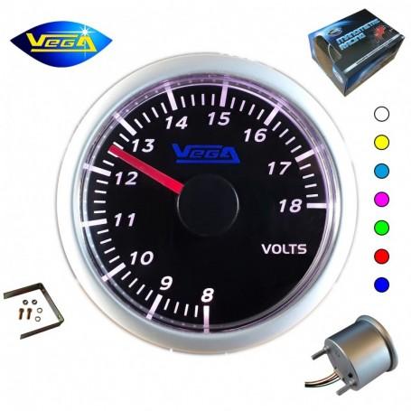 Manomètre Vega® Voltmètre 8 à 18V affichage 7 couleurs changement tactile 52 mm