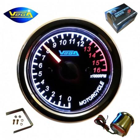 Compte-tours Vega® spécial moto étanche monocylindre 0-16000 trs/min