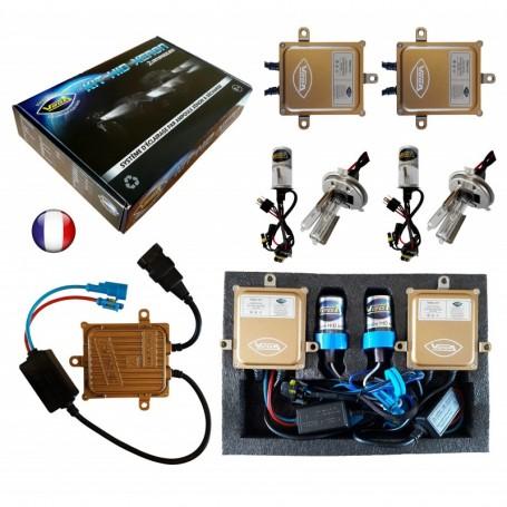 Kit HID Xénon Vega® H4LO 55W slim DSP AC 2 ampoules à embase métallique - Garantie à vie
