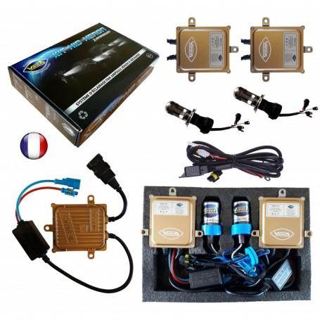 Kit HID Xénon Vega® H4 Hi/Lo bi-xénon 55W slim DSP AC 2 ampoules à embase métallique - Garantie à vie