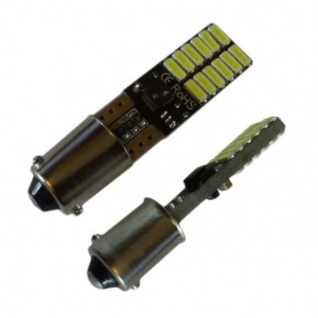 Ampoule BAX9S H6W 24 leds 4014SMD anti-erreur ODB Blanche xénon