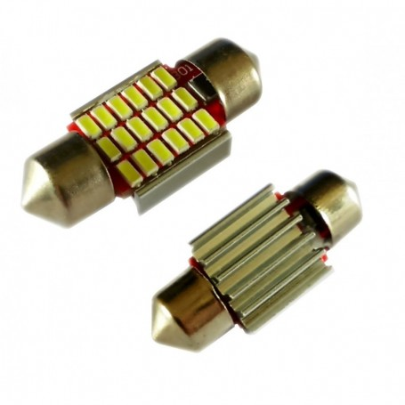 Ampoule C5W Navette 31 mm 18 leds 4014SMD antierreur ODB Blanche xénon