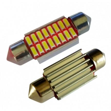 Ampoule navette 36 mm C5W C10W 16 leds 4014SMD anti-erreur ODB Blanche xénon