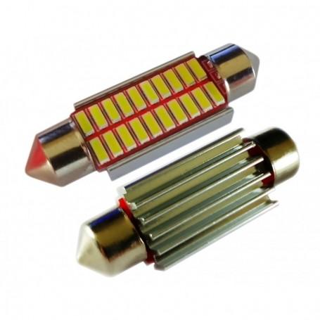 Ampoule navette 39 mm C5W C10W 20 leds 4014SMD anti-erreur ODB Blanche xénon