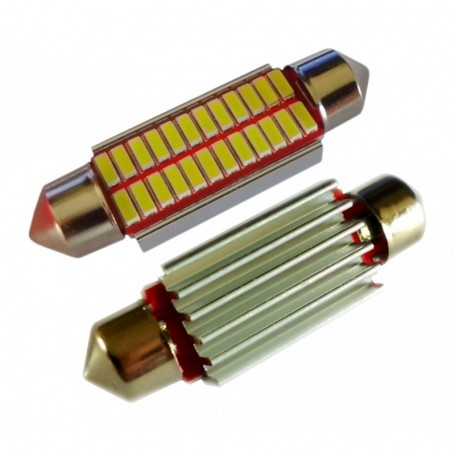 Ampoule navette 42 mm C5W C10W 24 leds 4014SMD anti-erreur ODB Blanche xénon
