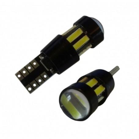 Ampoule W5W T10 10 leds 7020 SMD protection thermique anti-erreur ODB Blanche xénon