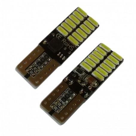 Ampoule W5W T10 24 leds 4014SMD anti-erreur ODB Blanche xénon